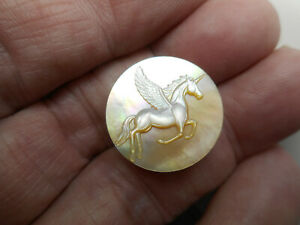 """Flying Unicorn Horse Carved MOP New Button 13/16"""""""