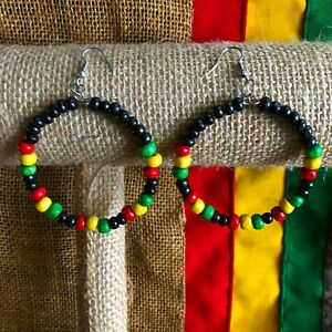 Earrings Beaded Jamaica Rasta Rastafari Empress Earring Reggae Jamaica RASTA