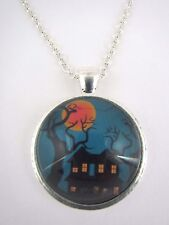 Haunted House Scene Silver Plated Necklace New in Gift Bag Halloween