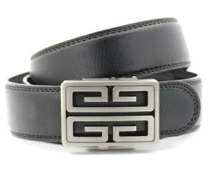 MENS WOMENS SQUARE GUNMETAL BUCKLE AUTOMATIC 35MM REAL LEATHER BELT G S L XL XXL