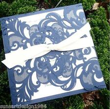 80 Blue Laser Cut Wedding Invitations With RSVP Free Customized Printing LK713