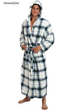 Mens Fleece Robe 3XL 4XL Long Hooded Bathrobe
