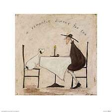 Sam Toft A Romantic Dinner for Two Love Dog Humor Funny Print Poster 15.75x15.75