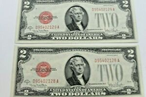Lot of  2 1928-G Red Seal 2 Dollar Notes
