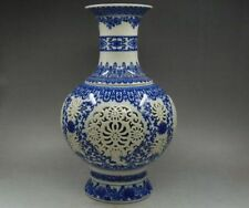 Chinese blue & white porcelain 2 set hand-painting double hollow carved vases