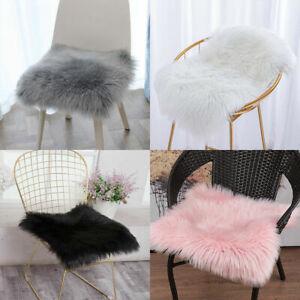White Soft Fluffy Faux Fur Sheepskin Chair Cover Seat Cushion Pad Mat Carpet Rug