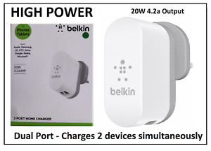 Belkin 4.2A Two-Port Mains Charger - Grey/White for iPhone iPad Tab Smartphone