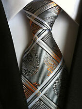 (NT152) 8cm Width Grey Necktie Wedding Office Business Party Formal Tie For Men