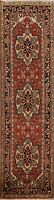 Geometric Hand-Knotted Heriz Oriental Runner Rug WOOL Hallway Carpet 3x8 ft New