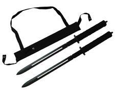 Ninja Sword Dual Black Tactical Machete Blade Katana Samurai Knife Set of 2