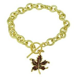 Gold-tone Link Bracelet with Enamel Maple Leaf Charm - PRL341BB