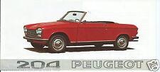 Peugeot 204 coupé gran lusso cabriolet gran lusso original brochure 1968