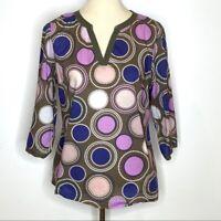 Boden Womens Blouse Cotton Circle Print V-neck Pullover Tunic Sz 8