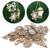 50Pcs/bag Christmas Carve Natural Wood Chip Ornaments Decorations DIY Crafts BN