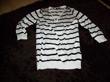 white black stripe vneck fine knit jumper top zips studs WALLIS size S (8/10/12)