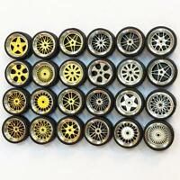 1/64 Scale Alloy Wheels Rubber Tyre For 1:64 Custom Hot Wheels DIY Simulation
