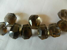 Smokey Quartz, 1 x Stunning Free Form Faceted Briolette, 13mm x 16mm approx