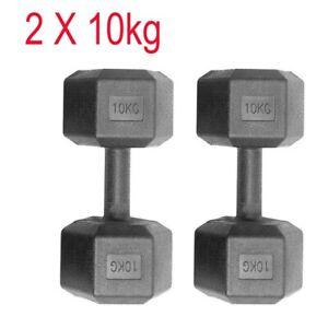 2x 10kg Hex Dumbells Cast Iron Rubber Encased Hexagonal Dumbbells Gym Weight Set