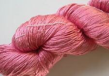 Luxury Laceweight Silk Yarn, 80g. Rose Pink. For Weaving/Textile Crafts