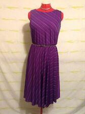 "Vintage ""Sally Lou"" Purple Stripe Shift Swing Skirt Dress With Button Detail"