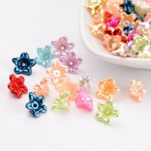 1 Bag ABS Plastic Imitation Pearl Flower Beads Mixed Color 10x10.5x5mm Hole 1mm