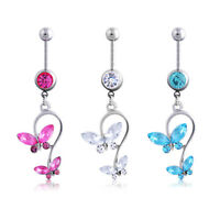 Women Crystal Butterfly Dangle Button Barbell Bar Belly Navel Ring Body Piercing