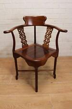 GORGEOUS VINTAGE CHINESE SOLID ORNATE ROSEWOOD CORNER CHAIR HALL BEDROOM CHAIR