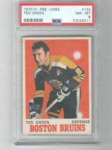 1970 OPC O-Pee-Chee Ted Green PSA 8 # 134 Boston Bruins