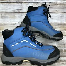 Lands End Womens 6M Blue Canvas Hiking Boots Lightweight Lace Up