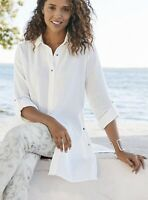 Soft Surroundings Small Saba Tunic in Marshmallow Cotton Weave Gauze