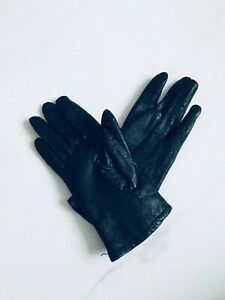 French Connection Black Leather Gloves / Size M-L / New