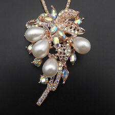 Rose Gold Plated White Pearl Crystal Coconut Tree Pendant Sweater Necklace