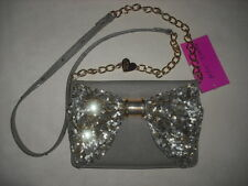 BETSEY JOHNSON OH BOW SEQUIN STONE GRAY CROSSBODY WALLET ON A STRING   NWT