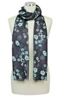 Poppy Scarf Floral Navy Blue White Grey Turquoise Poppies Modal Peony Scarves