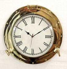 "15"" Antique Marine Brass Ship Porthole Analog Nautical Wall Clock Home Decor"