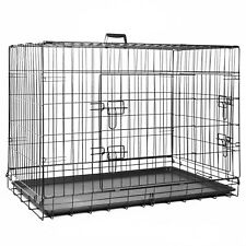 PET CRATE Folding Strong Metal Double Door Puppy Dog Cage with Animal Floor Tray