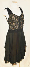 CHIC Style &Co Black Lace Bodice Sheer Car Wash Ruffles Day to Eve Party Dress L