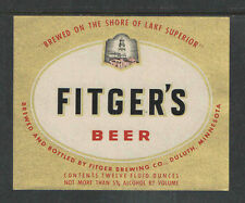1970s FITGERS BEER BOTTLE LABEL DULUTH MINN - GOLD - UNUSED
