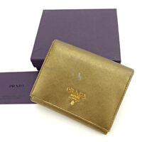 Prada Wallet Purse Trifold Logo Bronze Gold Woman Authentic Used Y6376