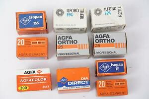 Mixed lot of vintage AGFA film 135 format. Also 2x refill Ilford HP4. Expired
