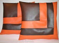 """2 en cuir synthétique housses de coussin en Marron & Orange Bloc Style 18"""" Diffusion Oreillers"""