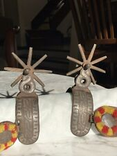 Very old pair of Mexican spurs W/ large rowels & eye-catching decorative straps