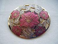Vintage enamel pierced flower oval brooch pin Fish & Crown