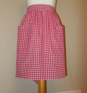 New 'Red Gingham ' Vintage Style Half / Waist Apron/Pinny