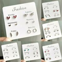 Fashion 6Pairs Korean Crystal Rhinestone Week Heart Earrings Set Stud Women Gift