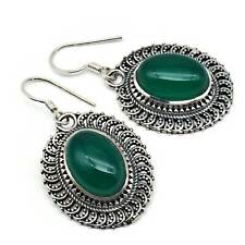 Oorbellen 925 sterling zilver Groene onyx groene steen
