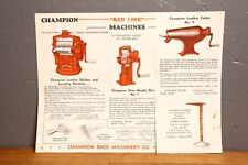 Vintage Champion Leather Cutter Splitter industrial Machine Brochure booklet