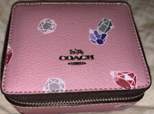 Coach Leather Pink Gemstone Jewelry travel ZIP around Organizer NWT