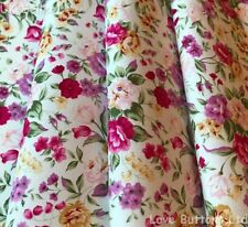 ROSE & HUBBLE PINK SUMMER ROSES ON WHITE FLORAL FABRIC 100% COTTON 112CM WIDE
