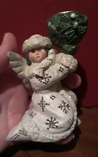 Beautiful ~Pam Schifferl Angel & Bird With Candle Holder Christmas/Winter Signed